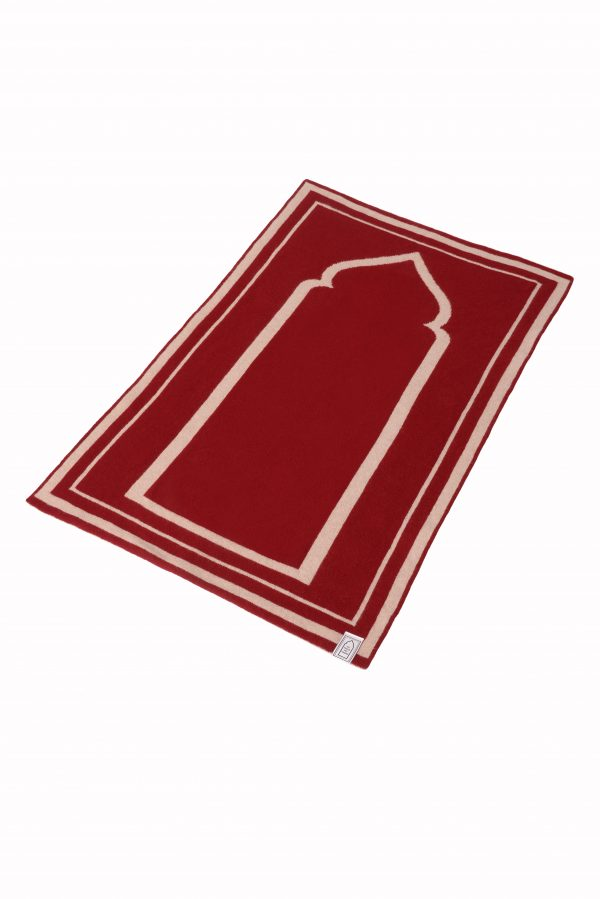red Luxury British Lambs Wool Prayer Rug Mat Highest Quality Musallah