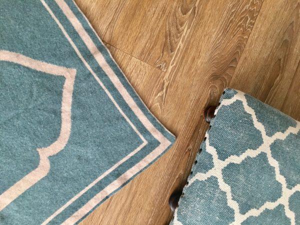 luxury teal lambs wool prayer mat rug made in britain