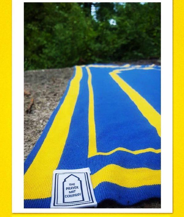 blue yellow salah mat praying mat musallah sejadah
