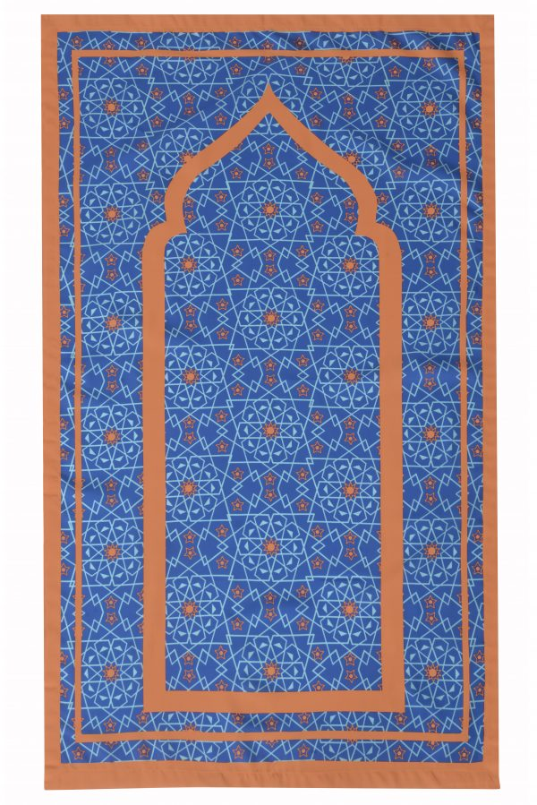 Blue Pocket Travel Prayer Mat Sejadah light compass