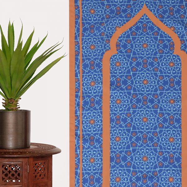 Blue Pocket Travel Prayer Mat Sejadah light compass