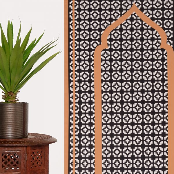 Pocket Travel Prayer Mat Unique monochrome geometric Sejadah light compass ramadan gift