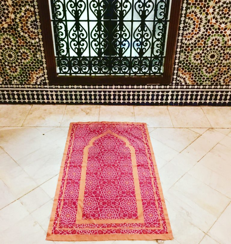 Pink pocket travel prayer mat sejadah