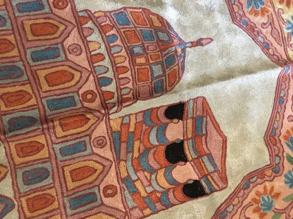 Handmade Prayer Mat silk Embroidery kashmiri rug carpet sejadah musallah