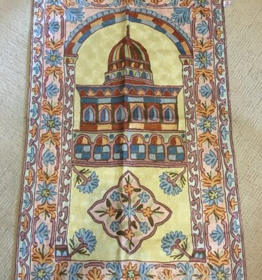 Handmade Prayer Mat silk Embroidery kashmiri rug carpet sejadah musallah