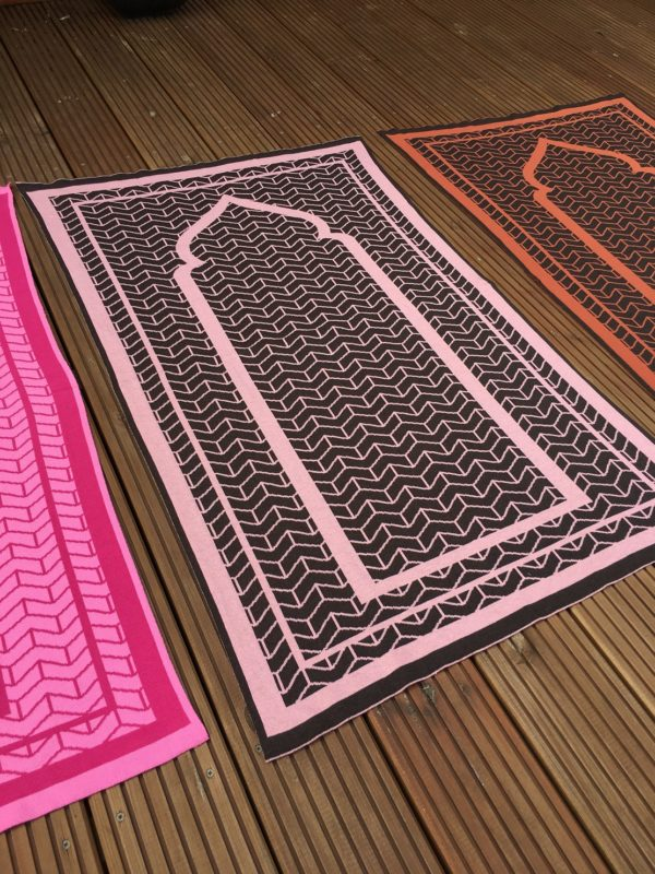 pink british made designer prayer mat rug sejadah