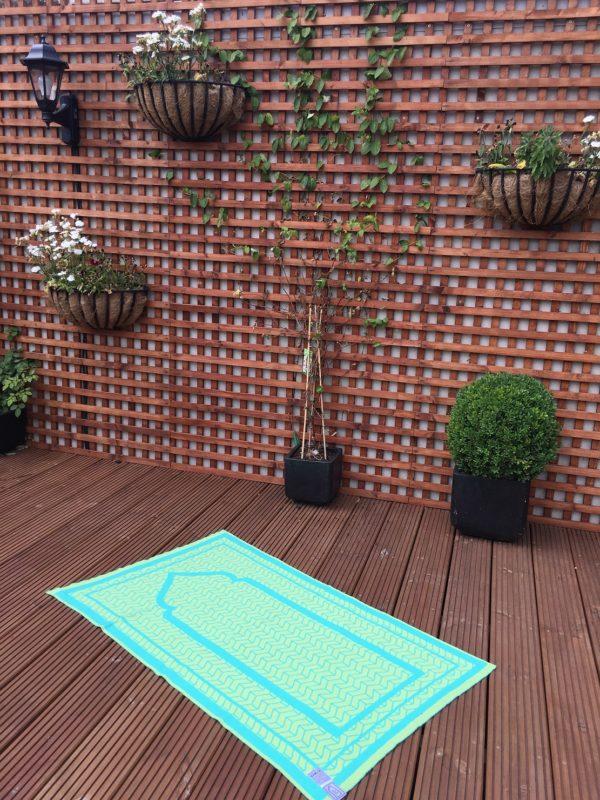 green grey british made designer prayer mat rug sejadah