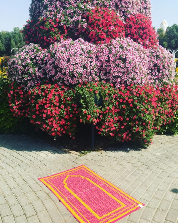 pink contemporary prayer mat rug