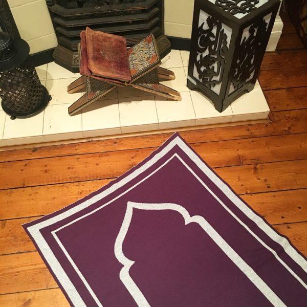 purple contemporary prayer mat rug salah