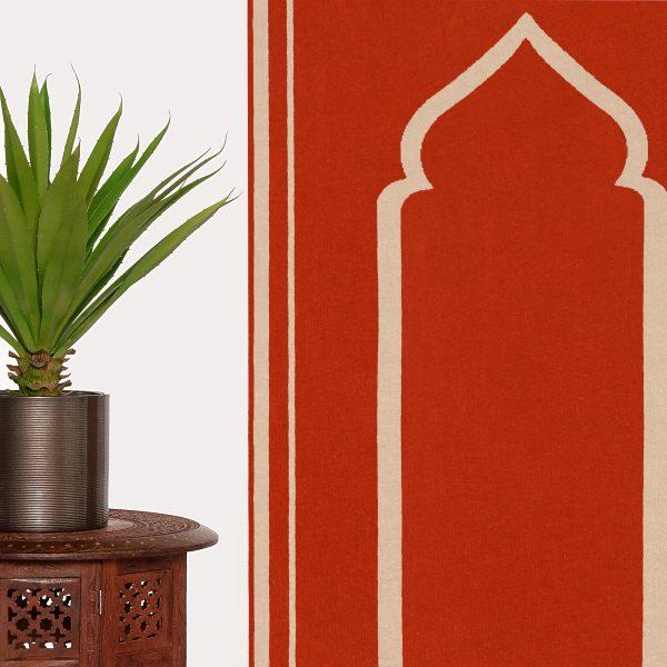 Dark Orange Prayer Mat Rug Sejadah Musallah Salah Namaaz