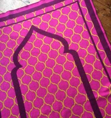 pink british made designer prayer mat rug moroccan