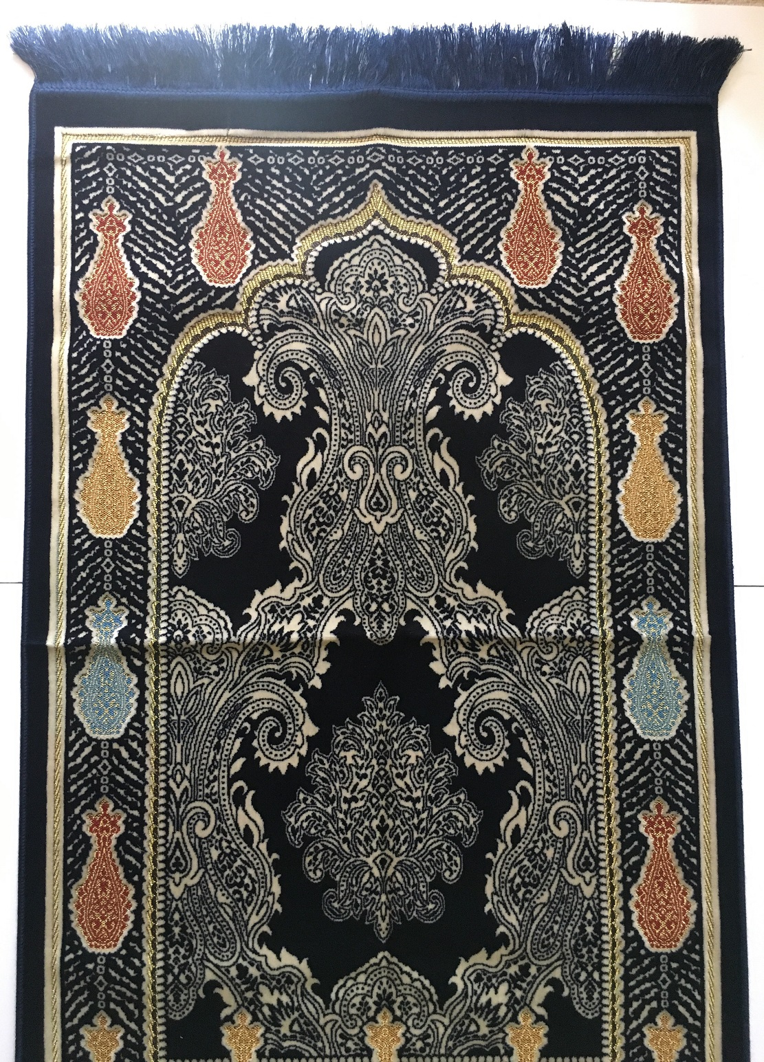 Luxury Paisley Design Turkish Prayer Rug Navy Amp Gold The