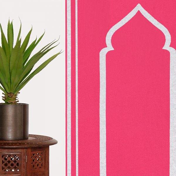 Pink Gray Prayer Mat Plain Sejadah Musallah Salah Namaaz