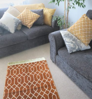 Mustard Geometric Luxury Prayer Mat made in Madinah
