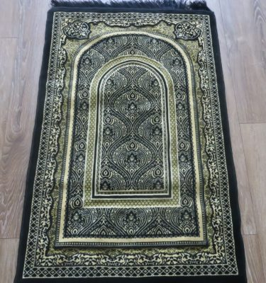 Black Luxury Thick Sponge Padded Prayer Mat Rug made in madinah