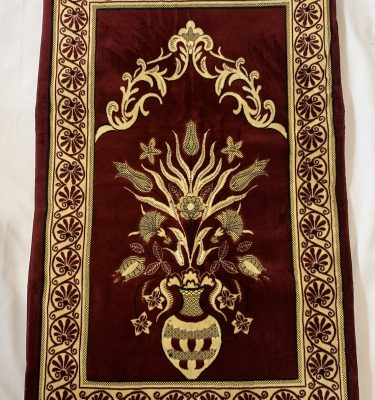 burgundy red Padded Prayer Mat Rug Thick