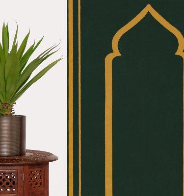 Dark Green Prayer Mat Plain Sejadah Musallah Salah Namaaz