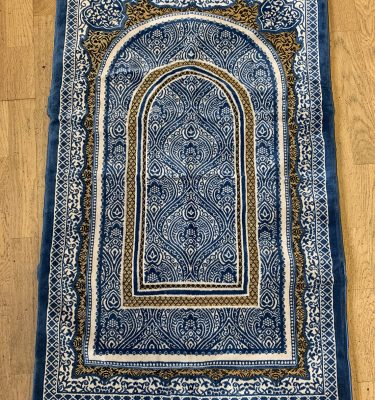 Denim Blue Sponge Padded Prayer Mat musallah ramadan gift