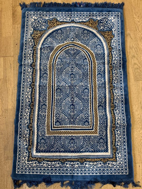Denim Blue Sponge Padded Prayer Mat musallah ramadan gift