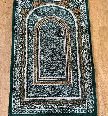 Emerald Green Sponge Padded Prayer Mat Rug Musallah Orthopeadic