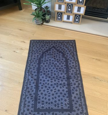 Black Geometric Pocket Travel Portable Prayer Mat for Salah