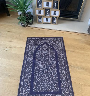 Navy Geometric Pocket Travel Prayer Mat portable salah mat