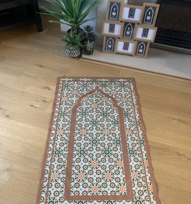 Uzma Brown Geometric Pocket Travel Prayer Mat