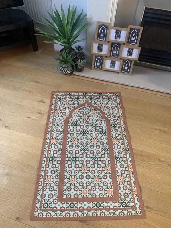 Uzma Brown Geometric Pocket Travel Prayer Mat